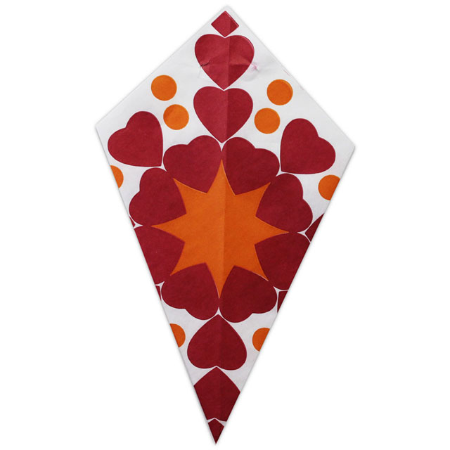 Red Hearts & Orange Accents - Paper Cone