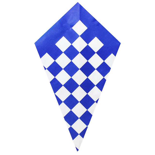 Blue Checkers Pattern - Paper Cone