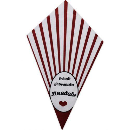 """Red Stripes With """"Frisch Gebrannte Mandeln"""" - Paper Cone"""