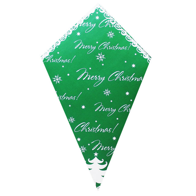 Merry Christmas On Green - Paper Cone