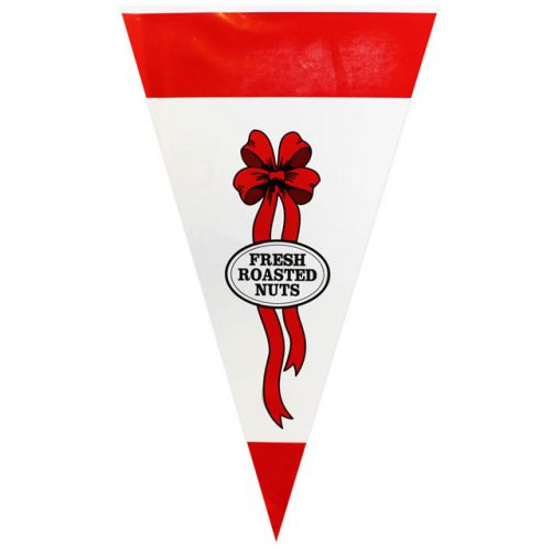 "Red With Ribbon & ""Fresh Roasted Nuts"" - Plastic Cone"