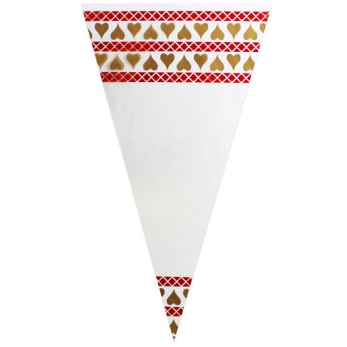 Red Pattern & Gold Hearts - Poly Cone